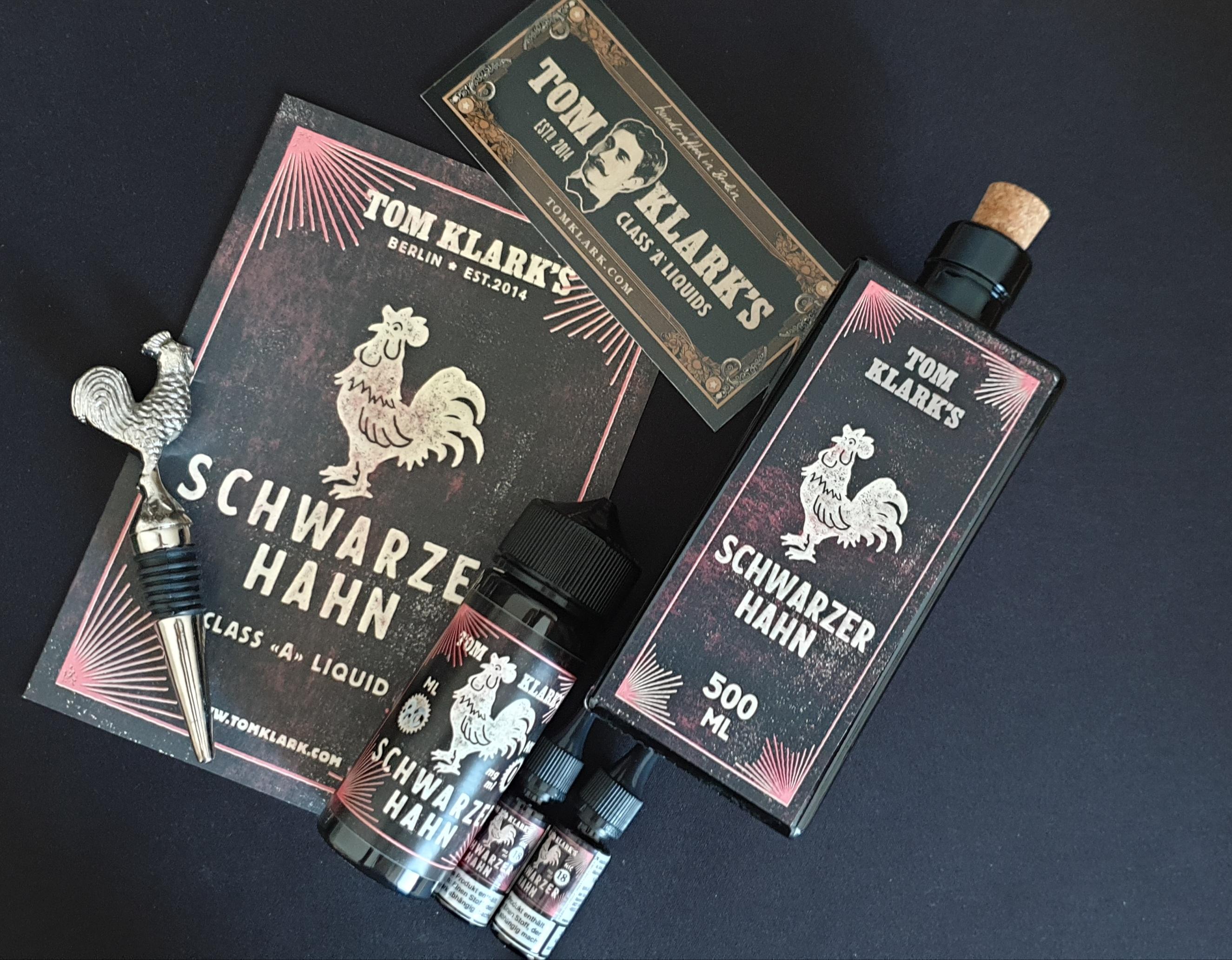 TOM KLARK Schwarzer Hahn *Special* 3mg 120ml inkl. Design Glasflasche