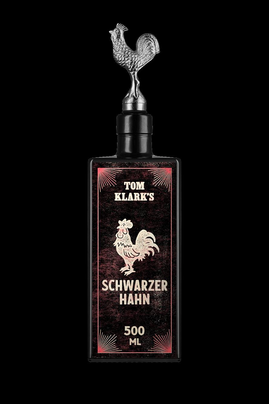 TOM KLARK Glasflasche Schwarzer Hahn 500ml Kapazität (Leerflasche)