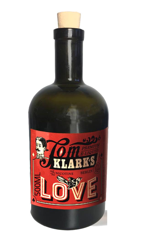 TOM KLARK Glasflasche Love 500ml Kapazität (Leerflasche)