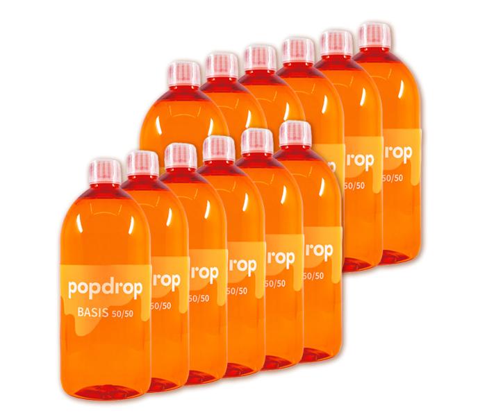 12 x 1000ml POPDROP Basis 50/50  - Liquidbase 0mg