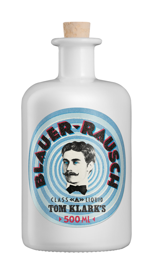 TOM KLARK Glasflasche Blauer Rausch 500ml Kapazität (Leerflasche)