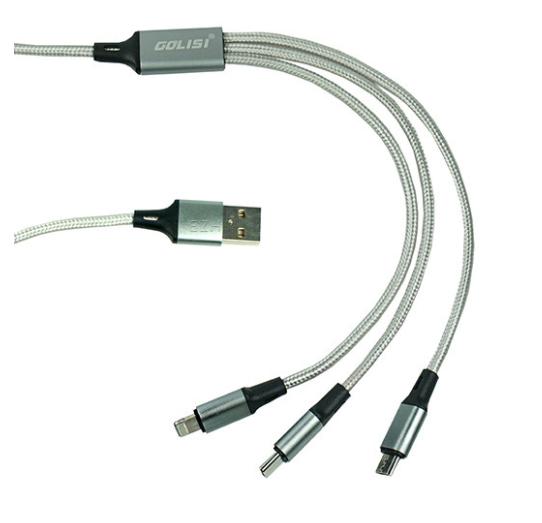 Golisi 3 in 1 USB Ladekabel Grau